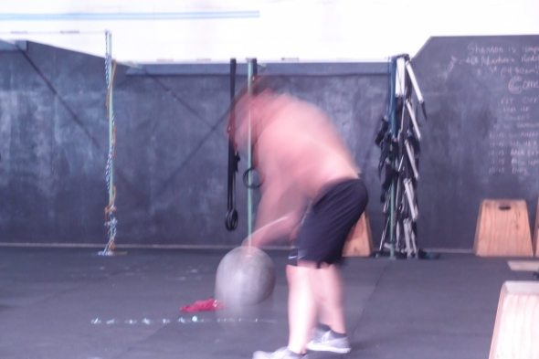You have to move fast to dribble the 115 lb. stone